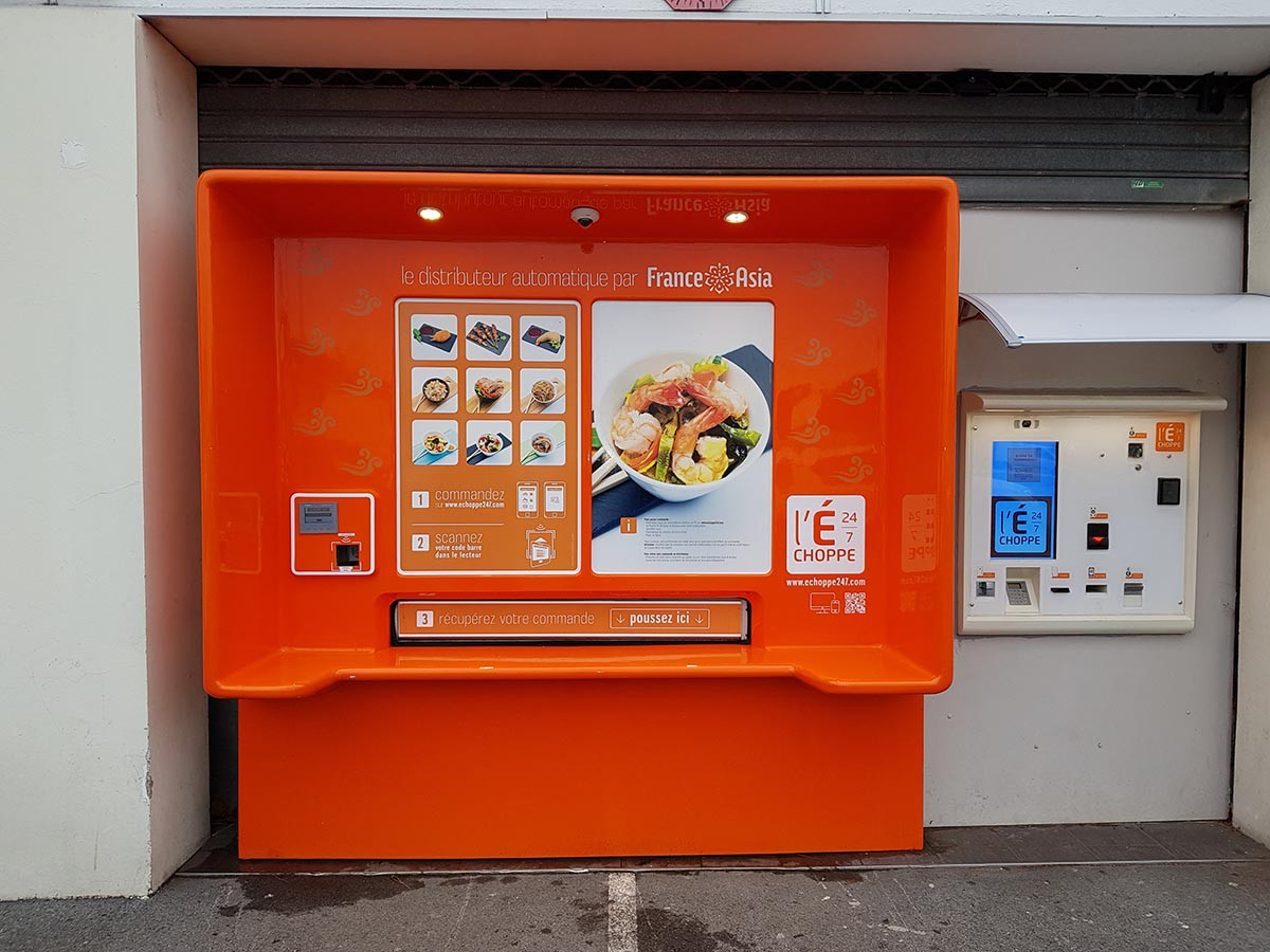 Facade of vending machine