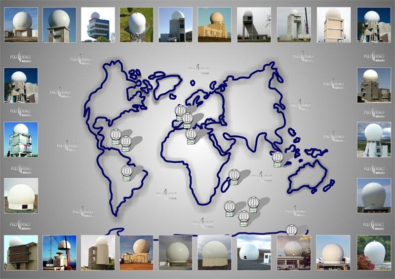 Implantation de nos radômes dans le monde, liste non exhaustive